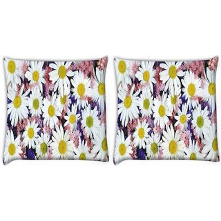 Snoogg Pack Of 2 White Petal Flower Digitally Printed Cushion Cover Pillow 10 x 10 Inch