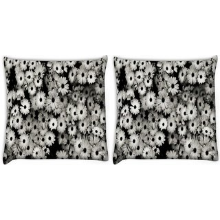 Snoogg Pack Of 2 Black And White Flowers Digitally Printed Cushion Cover Pillow 10 x 10 Inch