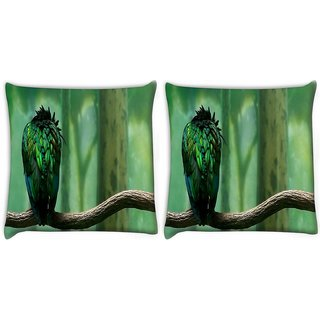 Snoogg Pack Of 2 Green Feathered Bird Digitally Printed Cushion Cover Pillow 10 x 10 Inch