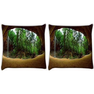 Snoogg Pack Of 2 Abstract Nature Digitally Printed Cushion Cover Pillow 10 x 10 Inch