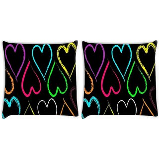 Snoogg Pack Of 2 Neon Hearts Digitally Printed Cushion Cover Pillow 10 x 10 Inch
