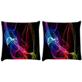 Snoogg Pack Of 2 Neon Smoke Digitally Printed Cushion Cover Pillow 10 x 10 Inch