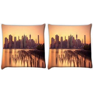 Snoogg Pack Of 2 New York Docks Digitally Printed Cushion Cover Pillow 10 x 10 Inch