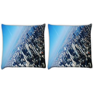 Snoogg Pack Of 2 New York From The Plane Digitally Printed Cushion Cover Pillow 10 x 10 Inch