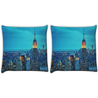 Snoogg Pack Of 2 New York Tower Digitally Printed Cushion Cover Pillow 10 x 10 Inch