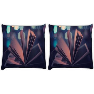 Snoogg Pack Of 2 Open Book Digitally Printed Cushion Cover Pillow 10 x 10 Inch