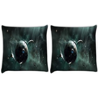 Snoogg Pack Of 2 Solar Space Digitally Printed Cushion Cover Pillow 10 x 10 Inch