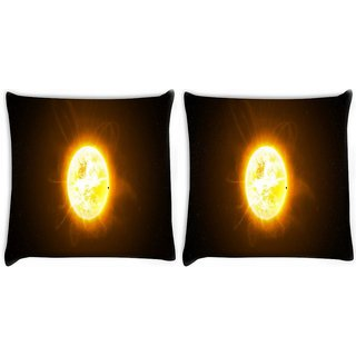 Snoogg Pack Of 2 Moon In Space Digitally Printed Cushion Cover Pillow 10 x 10 Inch