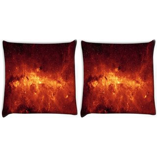 Snoogg Pack Of 2 Milky Way And Galaxy Digitally Printed Cushion Cover Pillow 10 x 10 Inch