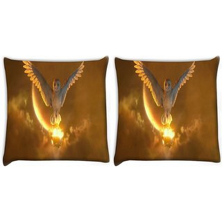 Snoogg Pack Of 2 Owls Guardians Digitally Printed Cushion Cover Pillow 10 x 10 Inch