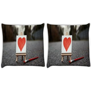 Snoogg Pack Of 2 Painted Heart Digitally Printed Cushion Cover Pillow 10 x 10 Inch