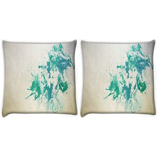 Snoogg Pack Of 2 Painting Of A Man Digitally Printed Cushion Cover Pillow 10 x 10 Inch