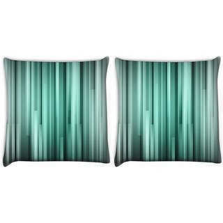 Snoogg Pack Of 2 Black And Grey Strips Digitally Printed Cushion Cover Pillow 10 x 10 Inch