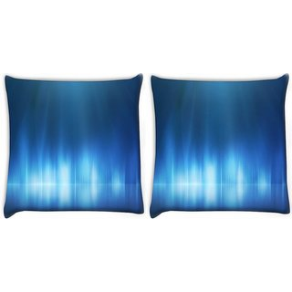 Snoogg Pack Of 2 Light Blue Design Digitally Printed Cushion Cover Pillow 10 x 10 Inch