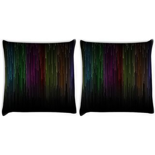 Snoogg Pack Of 2 Falling Colorful Rays Digitally Printed Cushion Cover Pillow 10 x 10 Inch