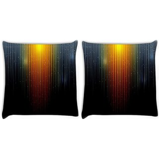 Snoogg Pack Of 2 Sparkling Lights Digitally Printed Cushion Cover Pillow 10 x 10 Inch