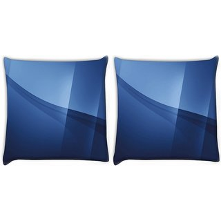 Snoogg Pack Of 2 Awesum Blue Design Digitally Printed Cushion Cover Pillow 10 x 10 Inch