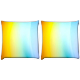 Snoogg Pack Of 2 Yellow And Blue Design Digitally Printed Cushion Cover Pillow 10 x 10 Inch