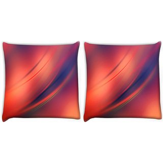 Snoogg Pack Of 2 Red And Orange Background Design Digitally Printed Cushion Cover Pillow 10 x 10 Inch