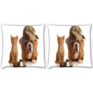 Snoogg Pack Of 2 Hungry For Food Digitally Printed Cushion Cover Pillow 10 x 10 Inch