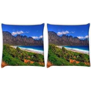 Snoogg Pack Of 2 Beach View Digitally Printed Cushion Cover Pillow 10 x 10 Inch