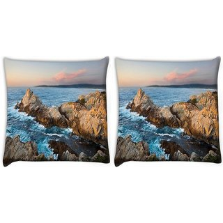 Snoogg Pack Of 2 Waves Hitting The Mountain Digitally Printed Cushion Cover Pillow 10 x 10 Inch
