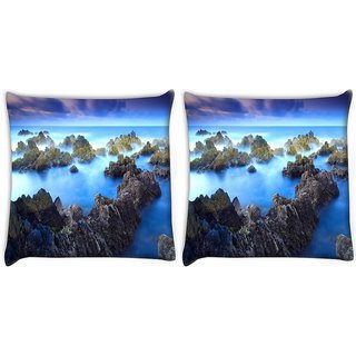 Snoogg Pack Of 2 Smoky Mountains Digitally Printed Cushion Cover Pillow 10 x 10 Inch
