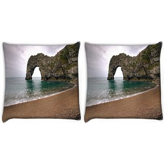 Snoogg Pack Of 2 Ocean View Path Digitally Printed Cushion Cover Pillow 10 x 10 Inch
