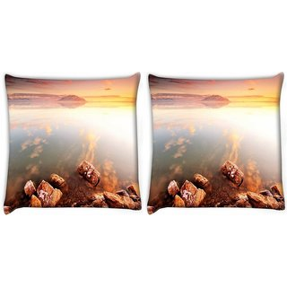 Snoogg Pack Of 2 Big Rocks In Ocean Digitally Printed Cushion Cover Pillow 10 x 10 Inch
