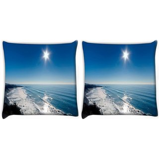 Snoogg Pack Of 2 Sun View In The Beach View Digitally Printed Cushion Cover Pillow 10 x 10 Inch