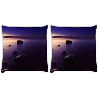 Snoogg Pack Of 2 Voilet Beach View Digitally Printed Cushion Cover Pillow 10 x 10 Inch