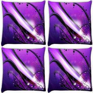 Snoogg Pack Of 4 Abstract Purple Glossy Design Digitally Printed Cushion Cover Pillow 10 x 10 Inch