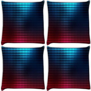 Snoogg Pack Of 4 Blue And Red Pattern Design Digitally Printed Cushion Cover Pillow 10 x 10 Inch
