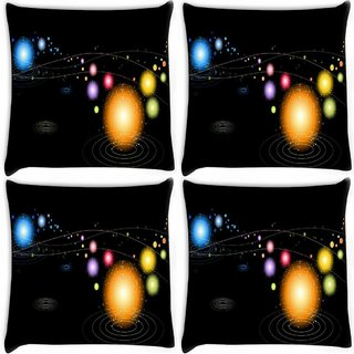 Snoogg Pack Of 4 Multicolor Sparkling Digitally Printed Cushion Cover Pillow 10 x 10 Inch