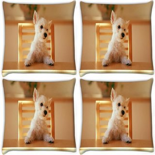 Snoogg Pack Of 4 Puppy Sitting In Chair Digitally Printed Cushion Cover Pillow 10 x 10 Inch