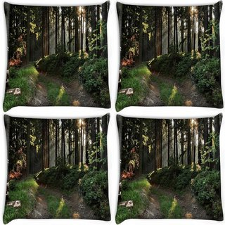 Snoogg Pack Of 4 No Way In Forest Digitally Printed Cushion Cover Pillow 10 x 10 Inch