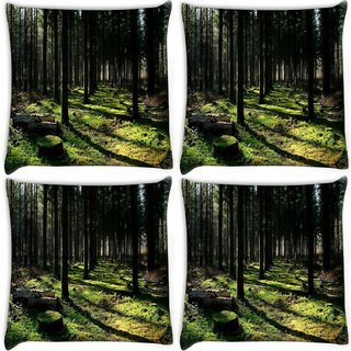 Snoogg Pack Of 4 Cutting Down The Trees Digitally Printed Cushion Cover Pillow 10 x 10 Inch