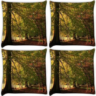 Snoogg Pack Of 4 Tree With Red Leaves Digitally Printed Cushion Cover Pillow 10 x 10 Inch
