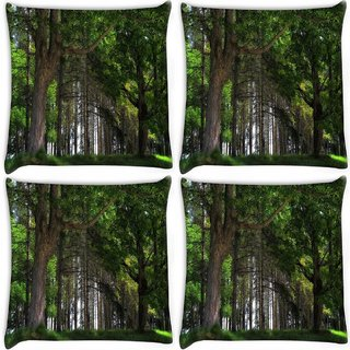 Snoogg Pack Of 4 Big Trees Digitally Printed Cushion Cover Pillow 10 x 10 Inch