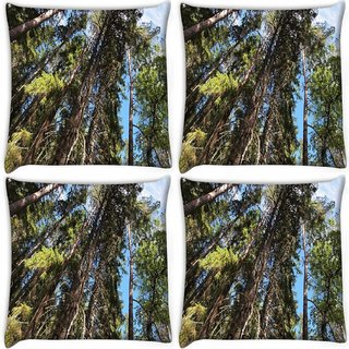 Snoogg Pack Of 4 Abstract Tree Digitally Printed Cushion Cover Pillow 10 x 10 Inch