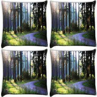 Snoogg Pack Of 4 Abstract Road In Forest Digitally Printed Cushion Cover Pillow 10 x 10 Inch