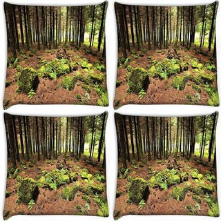 Snoogg Pack Of 4 Abstract Rocks In Forest Digitally Printed Cushion Cover Pillow 10 x 10 Inch