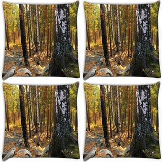 Snoogg Pack Of 4 Black Stones In Forest Digitally Printed Cushion Cover Pillow 10 x 10 Inch