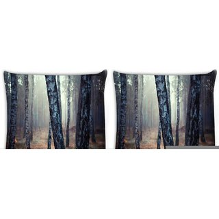 Snoogg Pack Of 4 White Trees Digitally Printed Cushion Cover Pillow 10 x 10 Inch