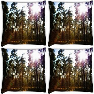 Snoogg Pack Of 4 Patternd Forest Digitally Printed Cushion Cover Pillow 10 x 10 Inch