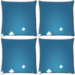 Snoogg Pack Of 4 Multiple Clouds Digitally Printed Cushion Cover Pillow 10 x 10 Inch