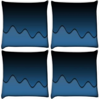 Snoogg Pack Of 4 Dark Blue Digitally Printed Cushion Cover Pillow 10 x 10 Inch
