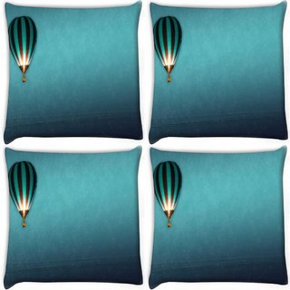 Snoogg Pack Of 4 Parachute Balloons Digitally Printed Cushion Cover Pillow 10 x 10 Inch