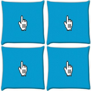 Snoogg Pack Of 4 Yoo Yoo Digitally Printed Cushion Cover Pillow 10 x 10 Inch