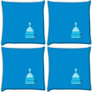 Snoogg Pack Of 4 Shark Digitally Printed Cushion Cover Pillow 10 x 10 Inch